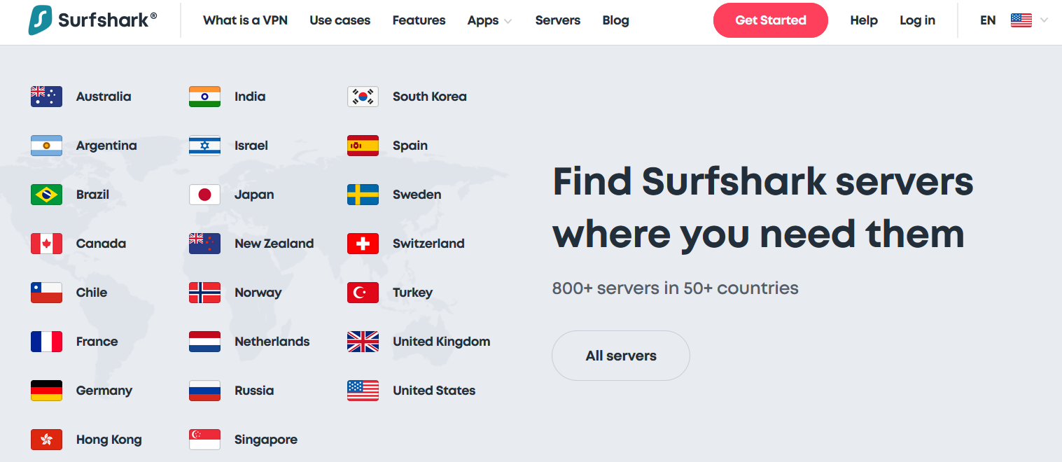 surfshark is boasting 800+ servers from 50+ countries