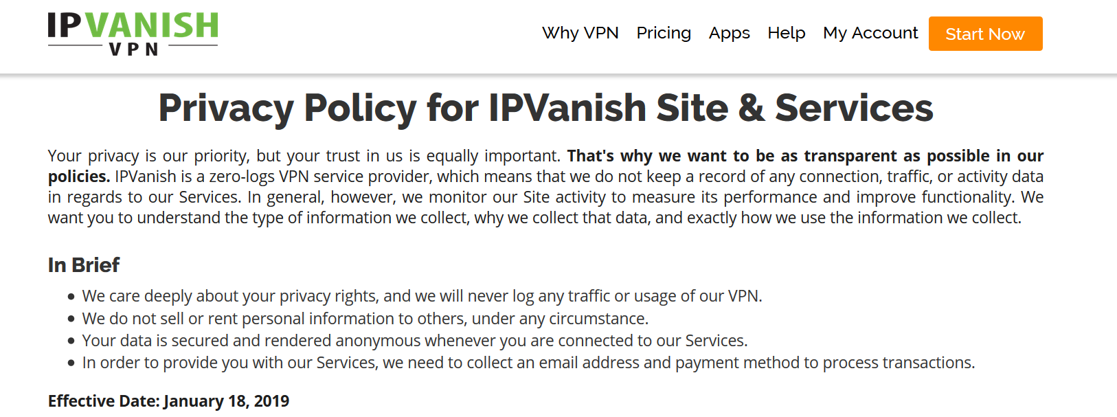 IPVanish VPN Privacy Policy