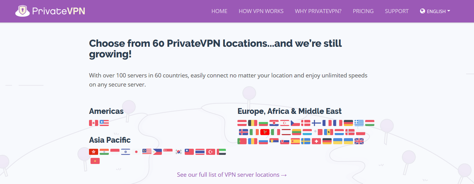 PrivateVPN Has 100+ Servers in 60+ Countries