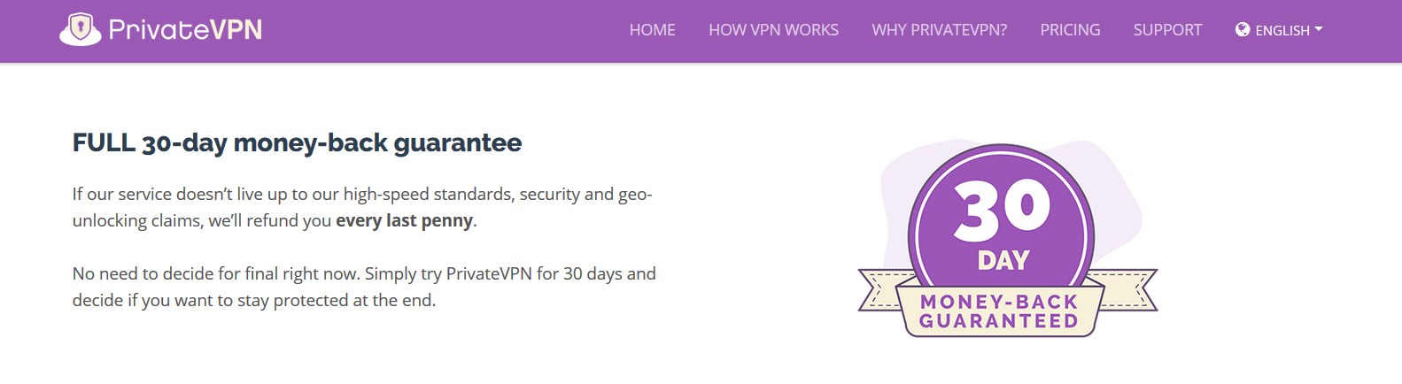 PrivateVPN Supports 30-day Money Back Guarantee
