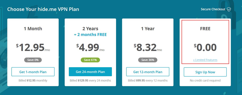 Hide.me Free VPN price