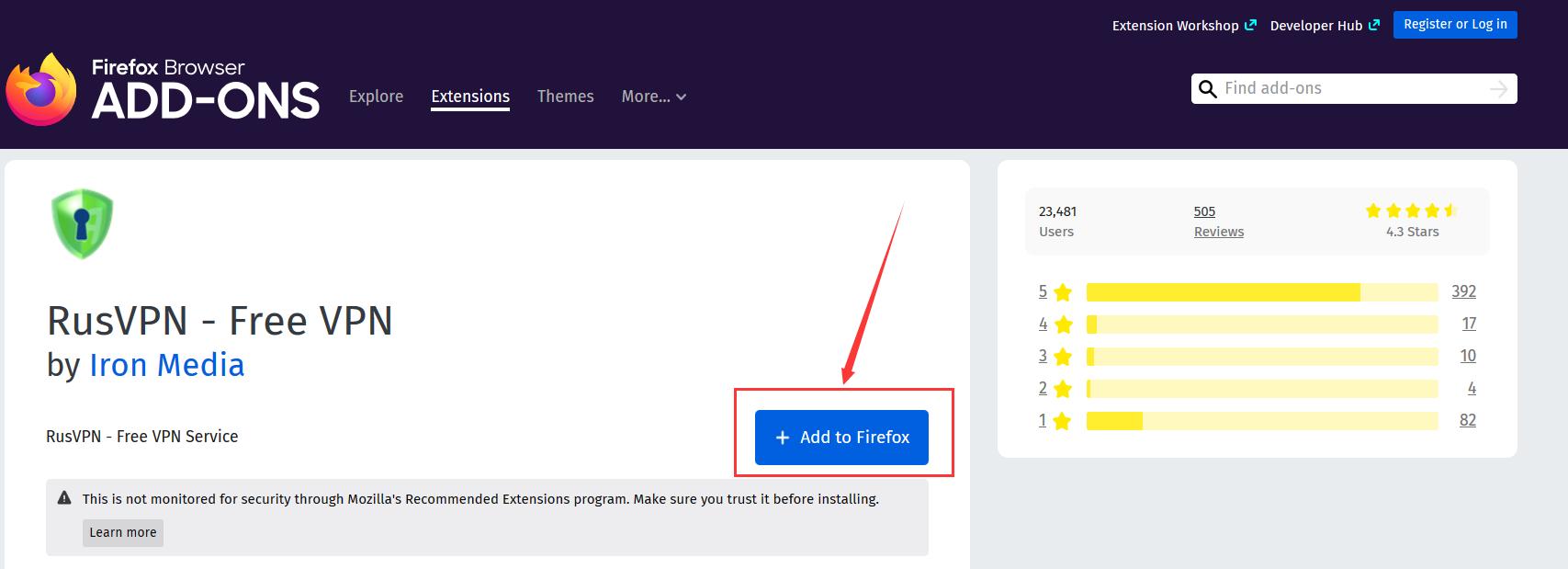 添加免费VPN到火狐浏览器
