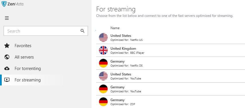 zenmate streaming servers